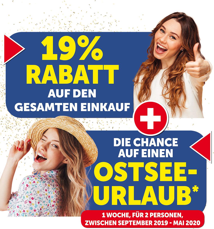 19% Rabatt auf den gesamten Einkauf + die Chance auf einen Ostsee-Urlaub