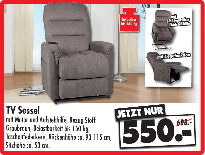 TV Sessel mit Motor und Aufstehhilfe, Bezug Stoff Graubraun, Belastbarkeit bis 150 kg, Taschenfederkern