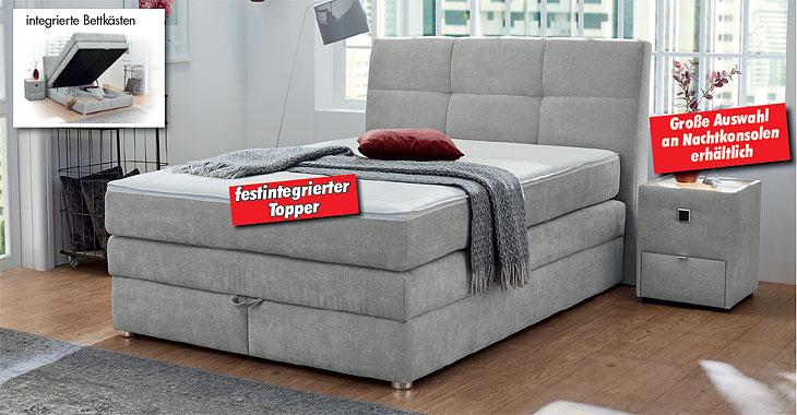 Boxspringbett Flachgewebe grau, Bonell-Federkernauflage, integrierte, belüftete Bettkasten und geteilte Bettkasten, Liegehöhe ca. 66 cm, inkl. fest integriertem Topper