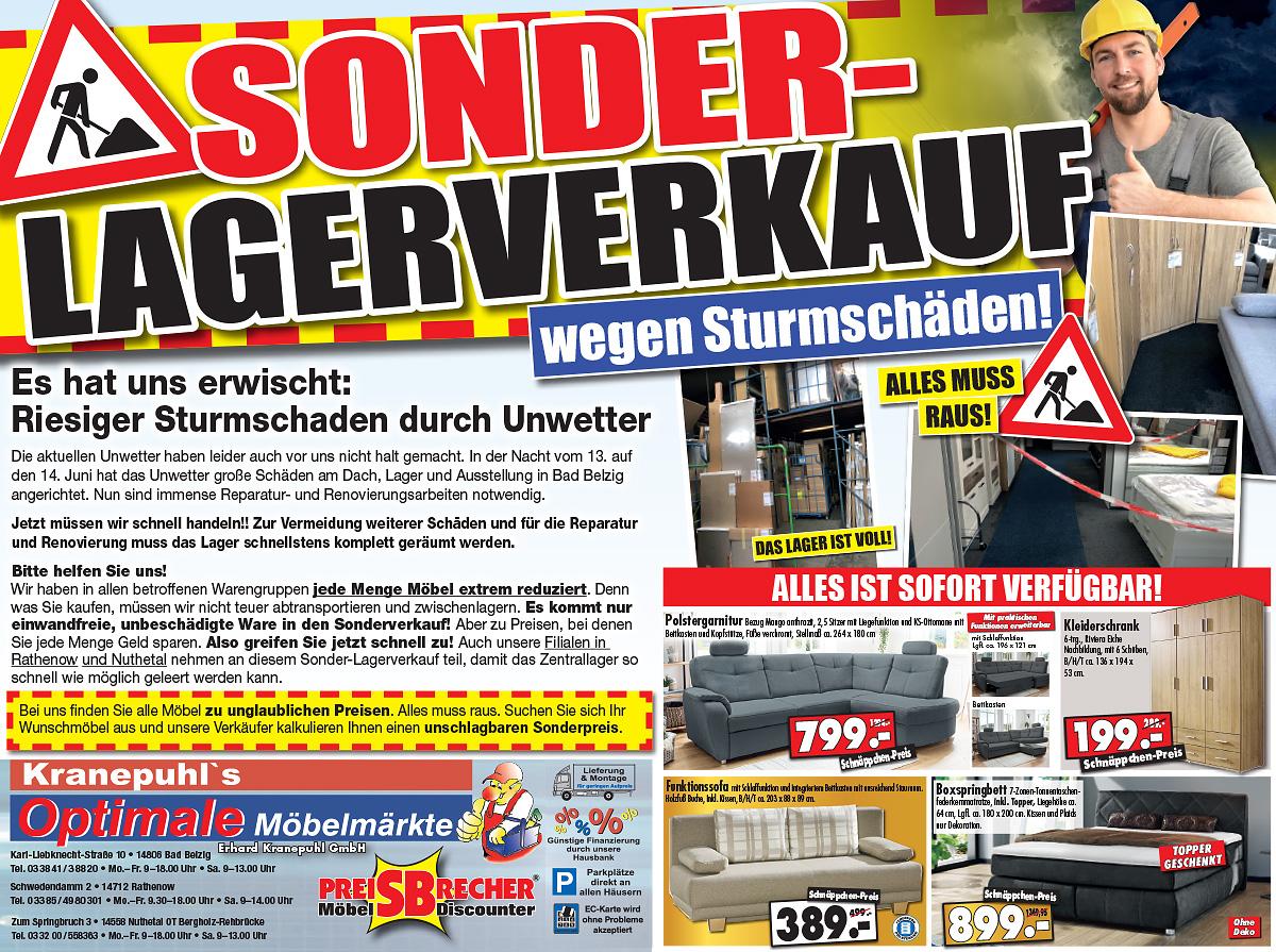 Sonder-Lagerverkauf wegen Sturmschäden